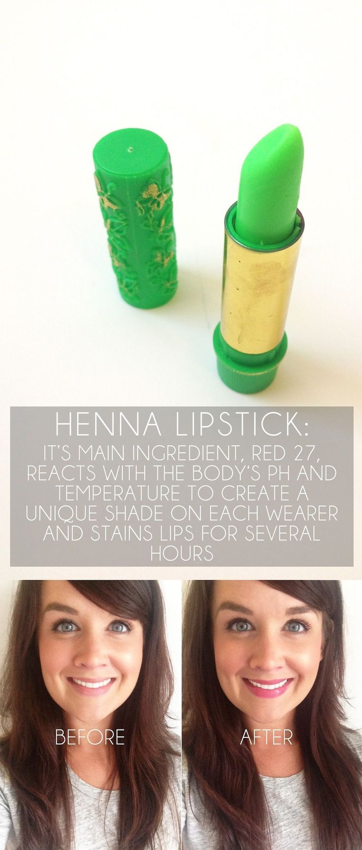 Henna Lipstick: it reacts with the body's natural pH and temperature to create a unique shade on each wearer and stains lips for several hours, $6 | Ebay