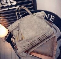 Material:Pu Leather Size:43cm*14cm*29cm Color:rose,black,gray,green Function:Fashion Rivet Women han