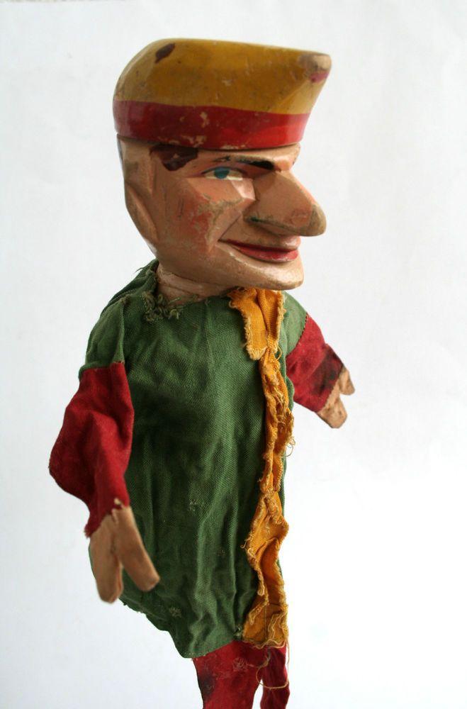KASPER-Puppe  KASPER  antike  Holzpuppe,geschnitzt,1920 Handpuppe Puppenspiel