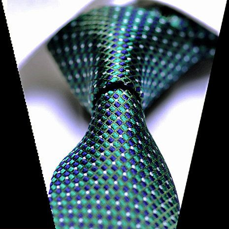 Skinny Silk Tie Navy Blue Green White Plaids Patterned Necktie - Silk Tie - Ties / Men's Tie - Wedding Tie - Necktie