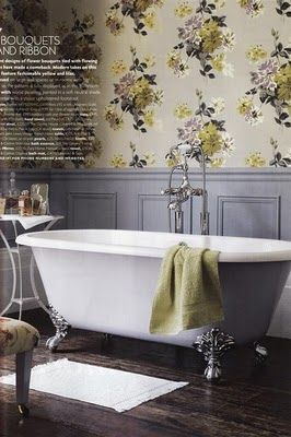 Would love this wallpaper and grey in my bedroom.