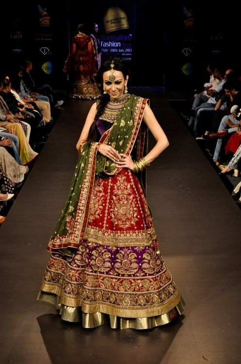 Stunning red and green bridal lehenga