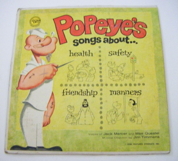 1963 Popeyes Songs About Health Safety Friendship by parkledge, $15.00