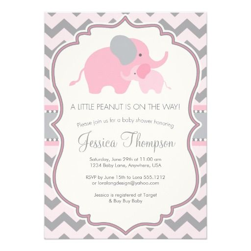 """Little Peanut"" Elephant Baby Shower Invitation for a little Girl in Light Pink and Gray Chevron / Custom Invites & Announcements"