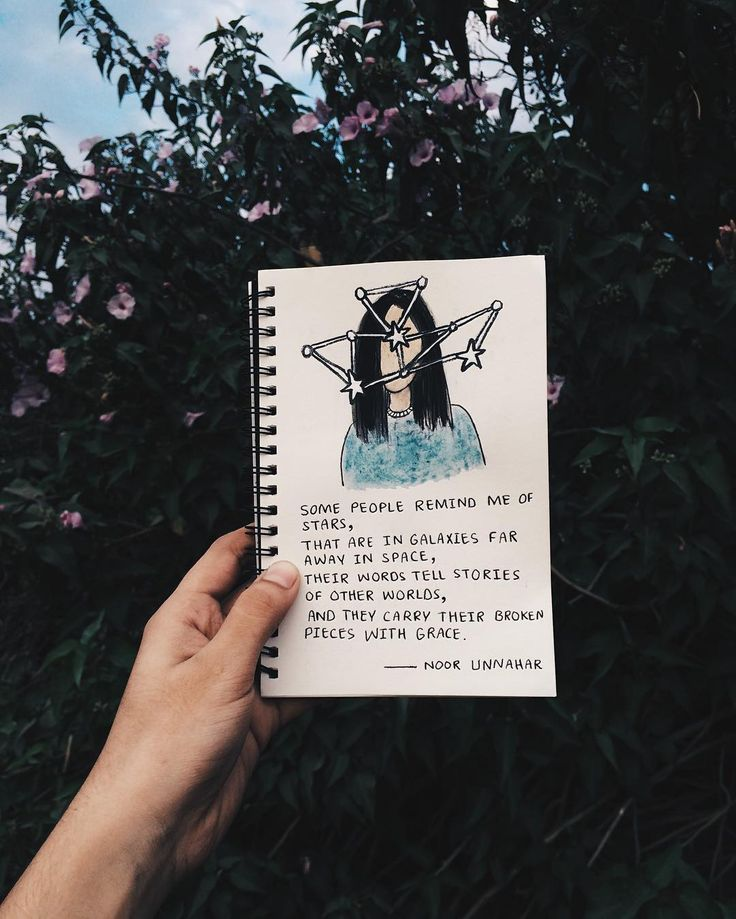 'some people remind me of stars, that are in galaxies far away in space, their words tell stories of other worlds, and carry their broken pieces with grace' // poetry by noor unnahar https://www.instagram.com/noor_unnahar/  // art journal ideas illustration, notebook, journaling, words, quotes, poem, inspiration, tumblr white aesthetics hipsters craft diy, instagram photography artists, bookstagram //