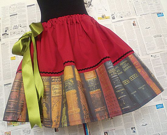 The bibliophile in me wants this.  Geek Clothing Geek Skirts Geek Dresses Book Lovers by RoobyLane, £40.00