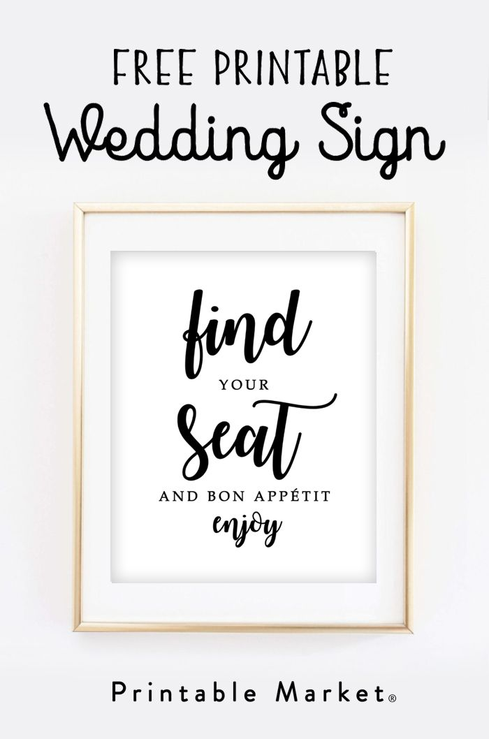 Free Printable Wedding Sign – Find Your Seat and Bon Appétit – Printable Market