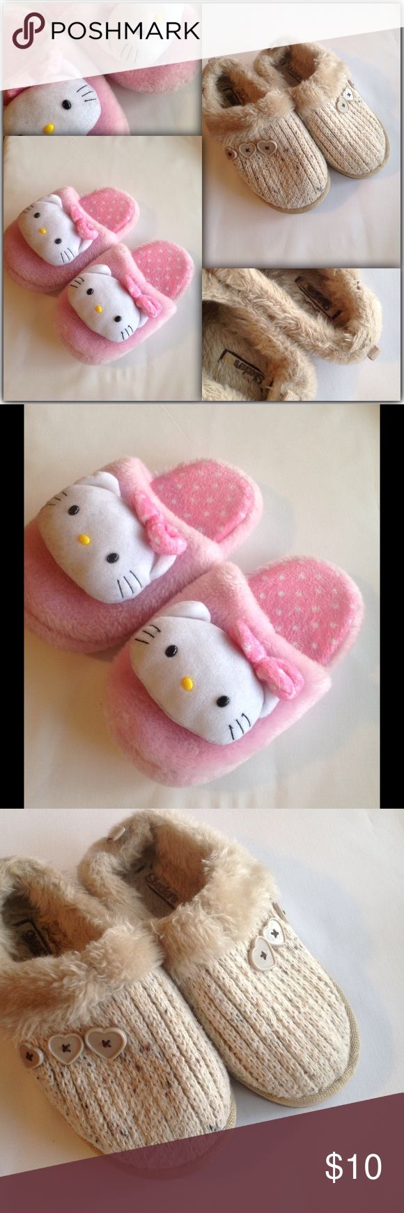 JUST IN✔️Kids slippers bundle size 1  and 2 Great condition kids slippers bundle hello kitty size 1-2  and Skechers size 1 Hello Kitty Shoes Slippers