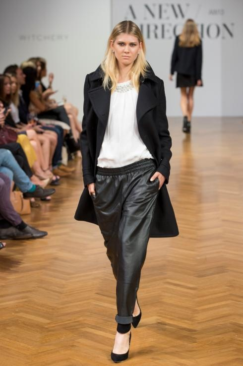 Wool Coat, Leather Jogger & Embellished top | Witchery AW13 Runway - 'A New Direction'