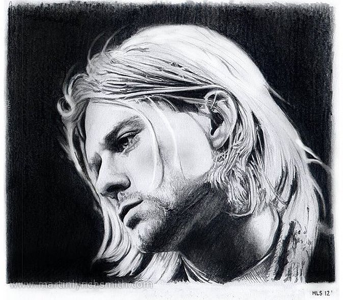 Pencil Drawings by Martin Lynch-Smith - Kurt Cobain