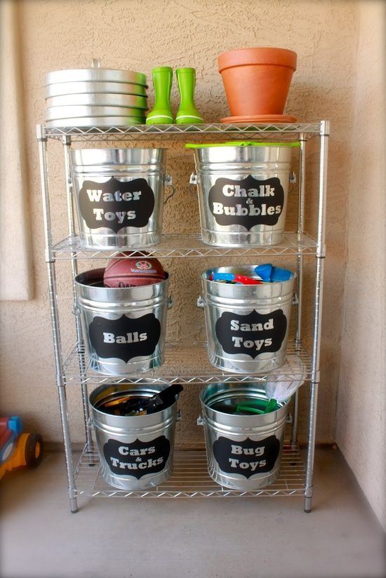 Outdoor toy storage - but would be great in my boys' room too. Lowe's has these buckets in their paint department for $10 each.