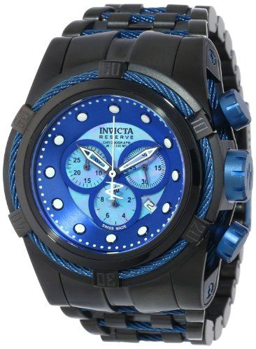 Invicta Men's 12735 Bolt Chronograph Blue Mother-Of-Pearl Dial Black Stainless Steel Watch