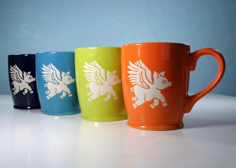 Flying Pig Mugs - Bread and Badger Gifts