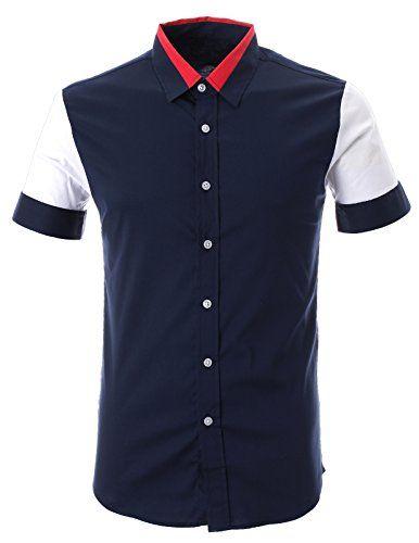 FLATSEVEN Herren Kontrast Farbe Kurzarm Hemd mit Rot Kragen (SH1003) Navy,  FLATSEVEN http://www.amazon.de/FLATSEVEN-Herren-Kontrast-Kurzarm-Kragen/dp/B00L42BCD2