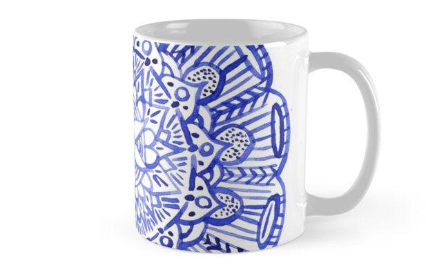 """""""Blue indian mandala"""" Mugs by russiangirl   Redbubble"""