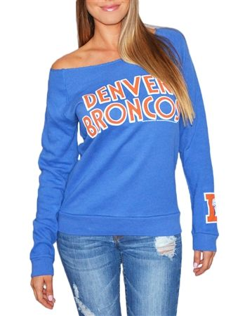 Love the off-shoulder look of this Denver Broncos sweatshirt!
