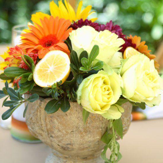 Tuscany Inspired Bridal Shower centerpiece, lemon, florals