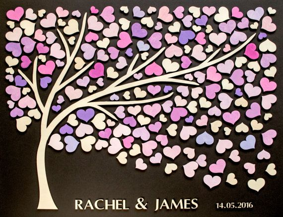 Custom 3D Wedding guest book alternative tree wood hearts Rustic wedding Rustic…