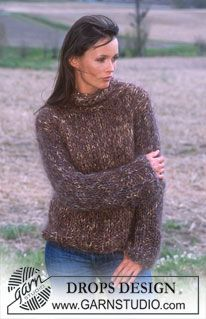 DROPS Sweater with high neck in Fox and Vienna. ~ DROPS Design