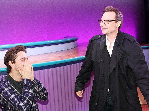 Christian Slater with Ryan McCartan (orginally casted JD for HEATHERS The Musical) going back to 1989 with the beloved signature trenchcoat!