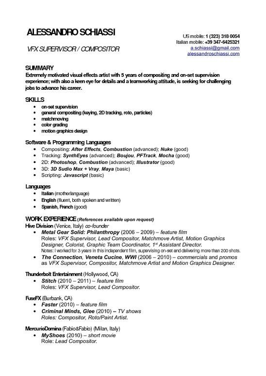 Vfx Freshers 3-Resume Format Resume format, Artist resume, Resume