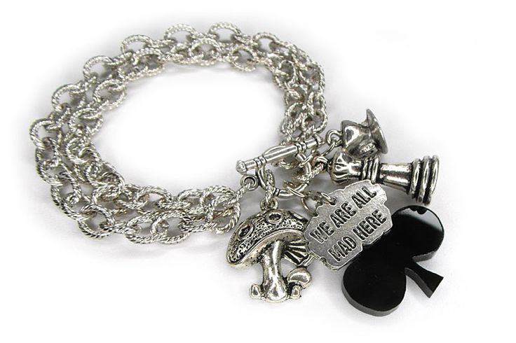 """We Are All Mad Here"" (Alice in Wonderland) Hand made Charm Bracelet http://shesterneva.com"