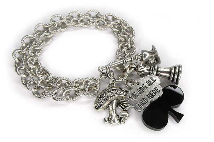 """We Are All Mad Here"" (Alice in Wonderland) Hand made Charm Bracelet http://shesterneva.com"