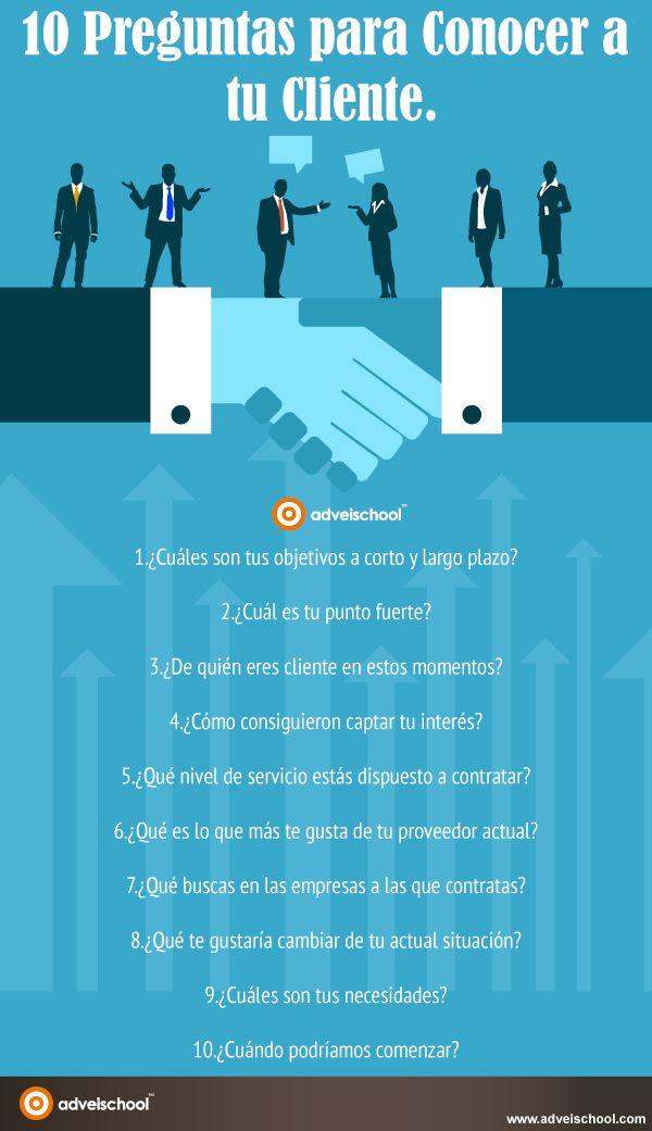 10 preguntas para conocer a tu cliente #infografia #infographic #marketing