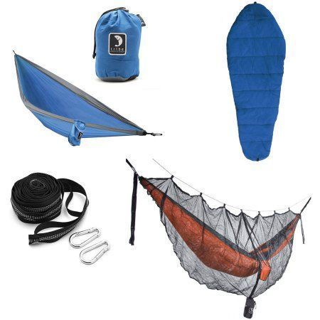 Tribe Provisions Hammock Camping Kit: Hammock, Tree Straps, Sleeping Bag and Mosquito Net, Blue