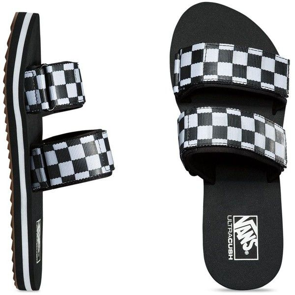 19a57acde Vans Cayucas Slide ($48) ❤ liked on Polyvore featuring shoes, black,  checkered