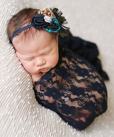 Baby's First Pictures! Loving this Navy Lace Wrap & Headband on #zulily! #zulilyfinds