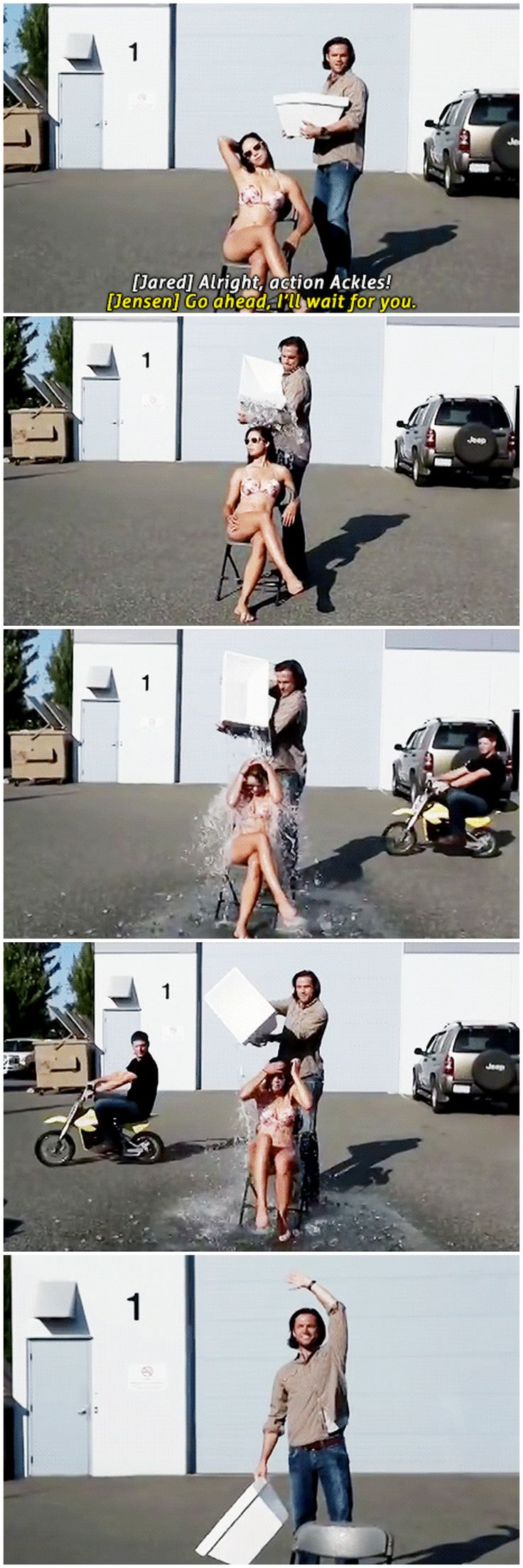 [gifset] Jared and Jensen helping out on Ingrid Libera's Ice Bucket Challenge and making it all their own. Only these two!