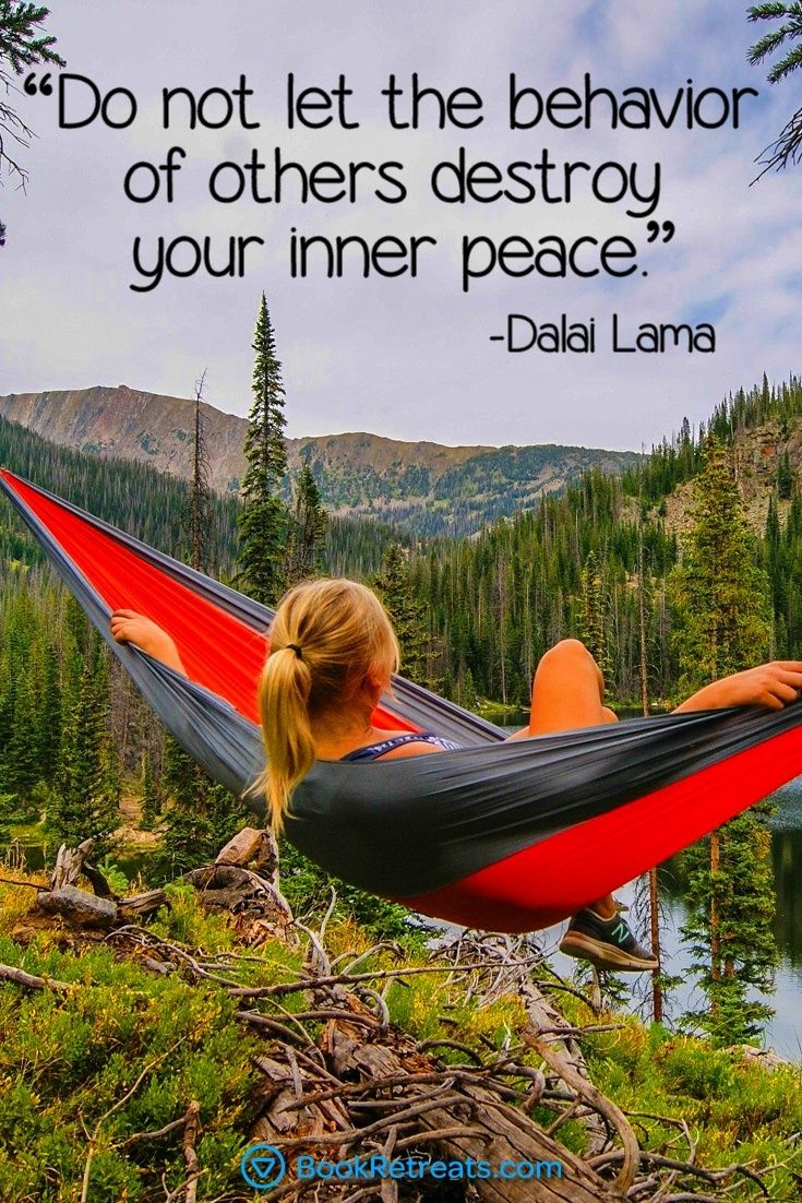 """Do not let the behavior of others destroy your inner peace."" Feeling a bit stressed or overworked in life? 101 Heart-warming meditation quotes by Dalai Lama and other teachers here: https://bookretreats.com/blog/101-quotes-will-change-way-look-meditation"