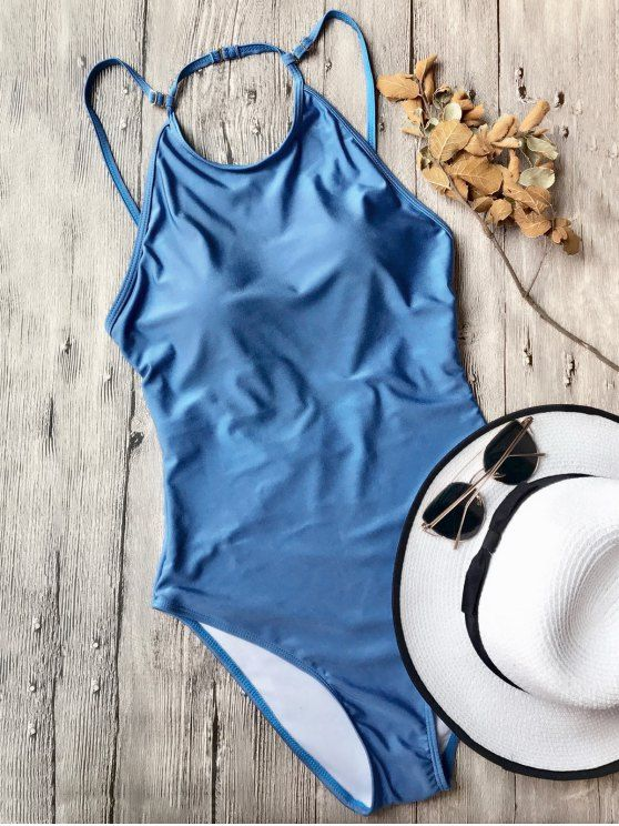 Open Back High Neck One Piece Swimsuit - BLUE L Mobile