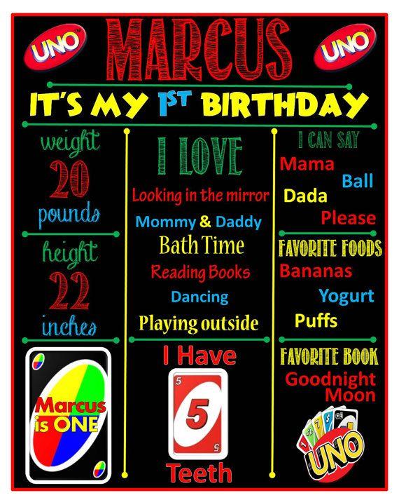 Uno compleanno lavagna Poster di DigitalCraftsMama su Etsy