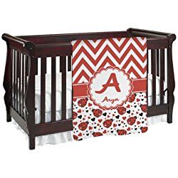 Ladybugs & Chevron White and Red Personalized Baby Blanket (Single Sided)