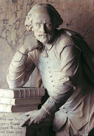 This monument to William Shakespeare, the bard of Avon, was erected in Westminster Abbey, London, in 1740.