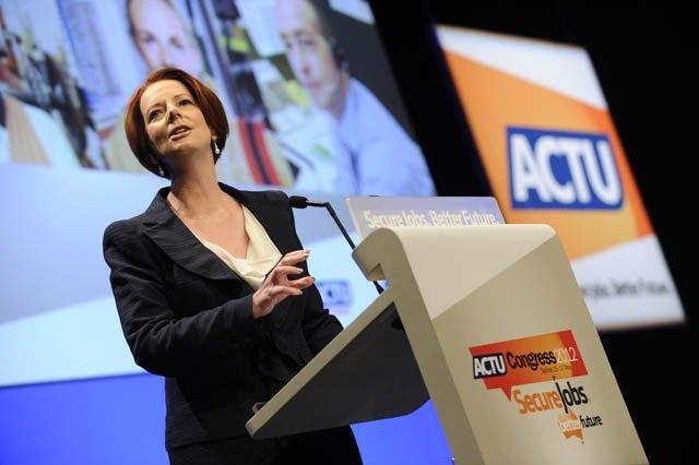 Prime Minister Julia Gillard addresses ACTU Congress 2012.