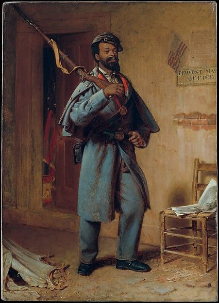 A Bit of War History- The Recruit from 1866: This shows an African American soldier during the Civil War in a Union uniform in a dark blue.