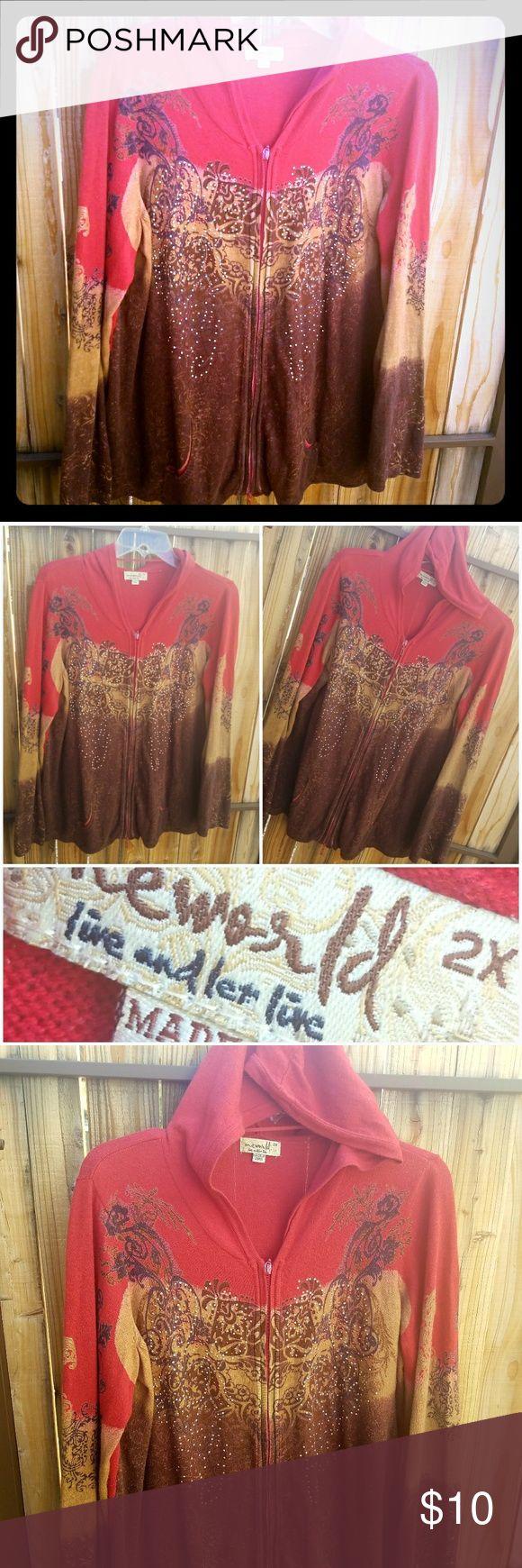 BeDAZZLED Women's Hoodie Rust/Reddish colored Hoodie zips up. 💖  Bedazzled with metal studded design.   #CasualChic #Windbreaker #Fall #FAshion Tops Sweatshirts & Hoodies
