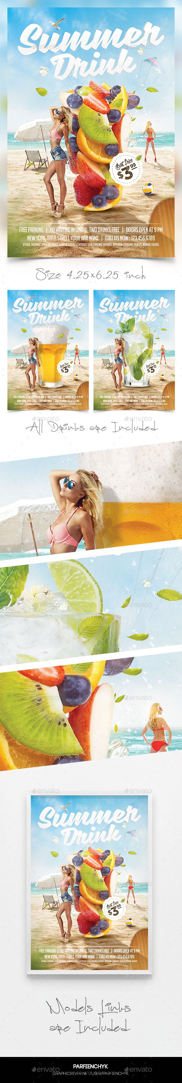 3in1 Summer Drinks Flyer Template