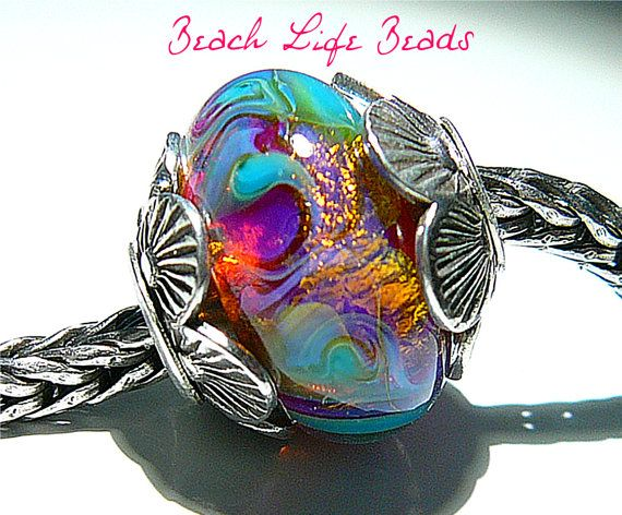 Reserved For Irma PINK GLITTERIZE OPAL Fully Lined Sterling Silver Big Hole Bead fits Troll Trollbeads Chamilia European Charm Bracelets
