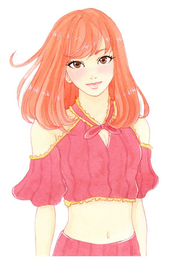 A personal favorite from my Etsy shop https://www.etsy.com/listing/461113542/peach-haired-girl-watercolor-print