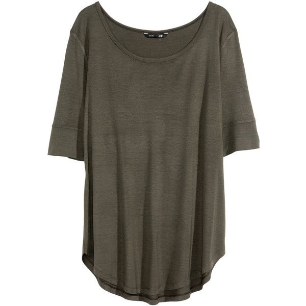 H&M Jersey top (£6.99) found on Polyvore featuring women's fashion, tops, tees, shirts, khaki green, rayon shirts, h&m shirts, green short sleeve shirt, khaki short sleeve shirt and green jersey
