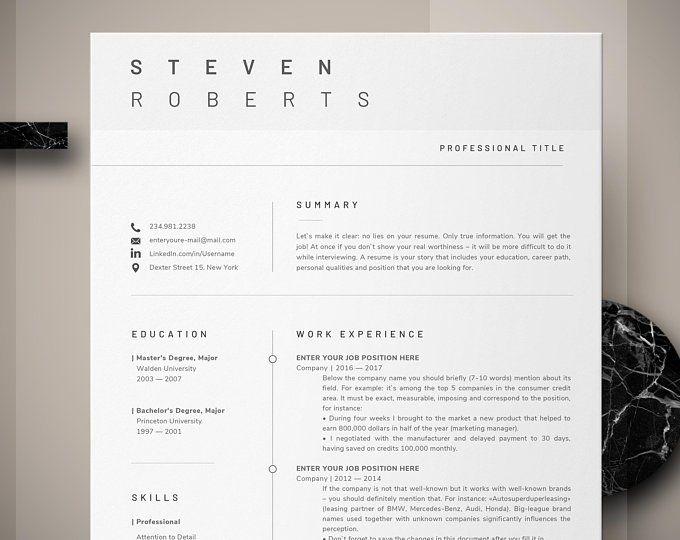 Minimalist Resume Template Cv Template 3 Page Resume Engineer