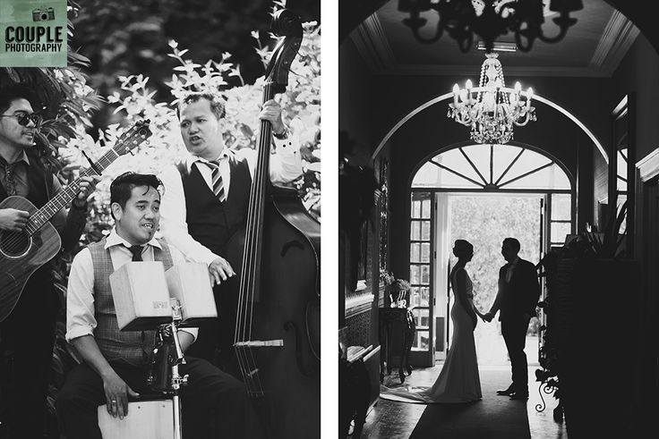 The bride & groom silhouetted in the doorway at Summerhill as their Guests are entertained. Wedding at Summerhill House Hotel by Couple Photography.