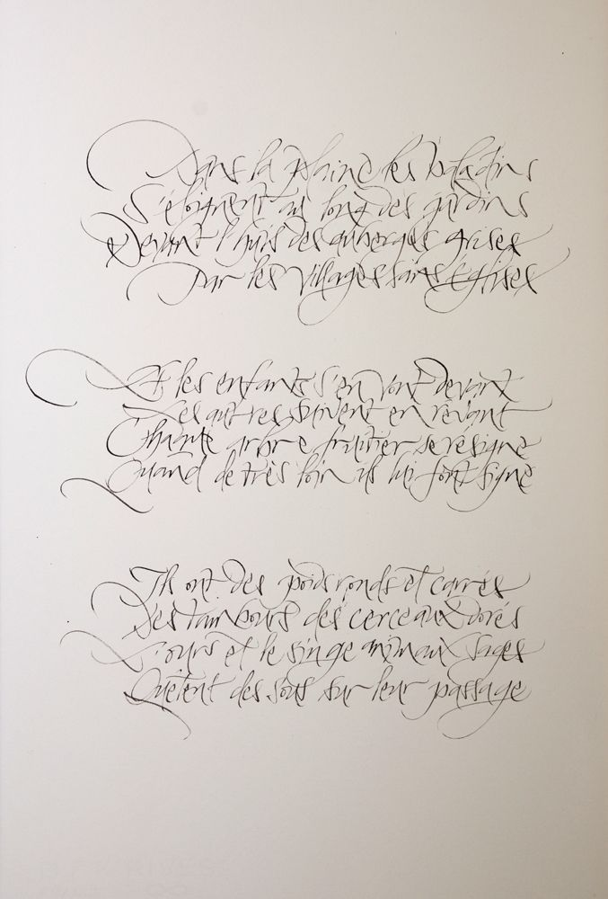 Calligraphie De Julien Chazal Poème De Guillaume Apollinaire