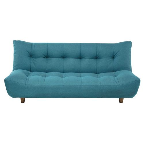 3 seater clic clac sofa bed in turquoise blue
