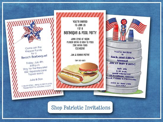 4th of July Invitations | Patriotic Party Invitations