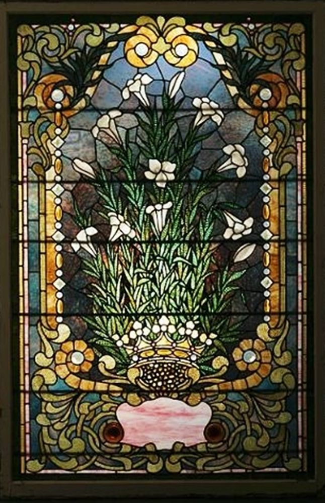 FLORAL STAINED GLASS WINDOW AUTHENTICATED AS TIFFANY BY BONHAM'S AUCTION HOUSE #TIFFANYSTUDIOSperBonhamsAuctionHouse